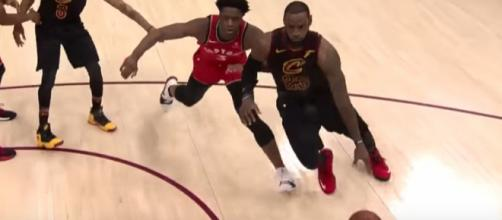 LeBron James and the Cavs will go for a perfect sweep of the Raptors in their second-round series on Monday night. [Image via NBA/YouTube]