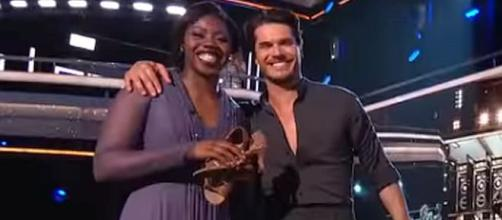 "Arike Ogunbowale and Gleb Savchenko eliminated from ""Dancing with the Stars"" [Image: Dancing with the Stars/YouTube screenshot]"