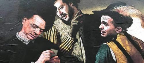 Salvini, Di Maio e Berlusconi dipinti come 'I bari' del Caravaggio provano a trovre un accordo per il governo M5S-Lega