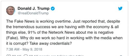Tweet by President Donald Trump appears to call negative news coverage of him fake. [Image source: realDonaldTrump/Twitter]