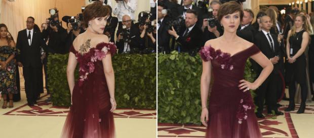 Scarlett Johansson modela un hermoso vestido en Met Gala 2018 el lunes por la noche