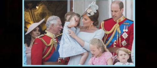 Princess Charlotte comforted by mom after tumble on balcony. - [Photo: Royal Wedding Channel / YouTube Screenshot]