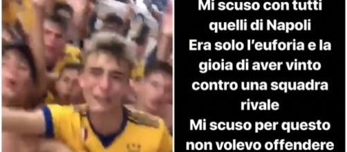 Il calciatore della Juventus si è subito scusato per l'accaduto