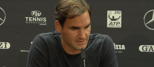 Roger Federer speaks during a press conference in Stuttgart. [image source: myTennis channel - YouTube]