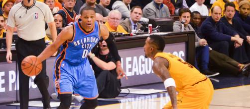 Russell Westbrook could join LeBron James and Cavaliers/ Photo via Flickr/ Eric Drost