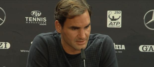 Roger Federer speaks during a press conference in Stuttgart. [image source: myTennis channel - YouTube]