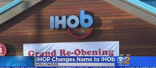 IHOP changes name to IHOb in Hollywood [Image: CBS Los Angeles/YouTube screenshot]