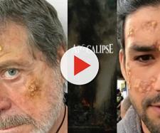 Atores Flávio Galvão e Sérgio Marone recebem maquiagem das chagas que seus personagens sofrerão.