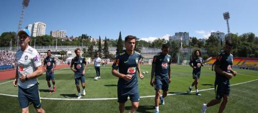 Seleção Brasileira treina para a Copa em Sochi, na Rússia - Foto: Reprodução / Facebook Oficial CBF