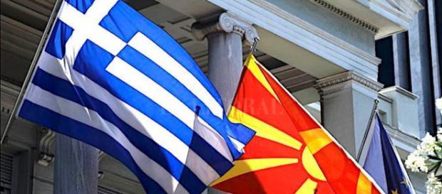 Las banderas de Grecia y Masedonia