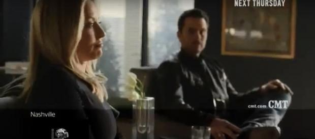 Jessie and Deacon weigh the toll of putting a son on the stand on 'Nashville.' [image source: TVPromos/YouTube]