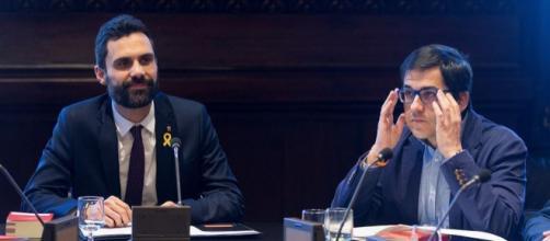 Roger Torrent, Presidente del Parlament de Cataluña(izda.), Jose Mª Espejo, vicepresidente segundo del Parlament(dcha)