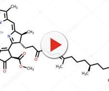La formola di struttura di una molecola di clorofilla.