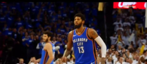 Paul George and the Thunder were defeated by the Utah Jazz in the first round of the NBA Playoffs. - [ESPN / YouTube screenshot]