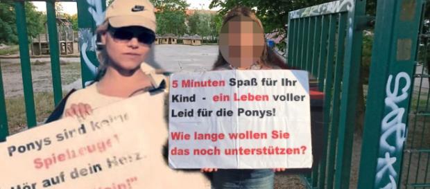 Jana Wagenhuber demonstriert zum Schutz von Ponys; im Hintergrund die brandenburger Schule / Symbolbild + Montage; Fotos: Jana Wagenhuber, privat