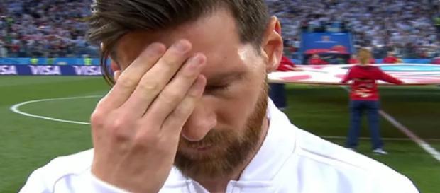 Este era o semblante de Messi antes da partida