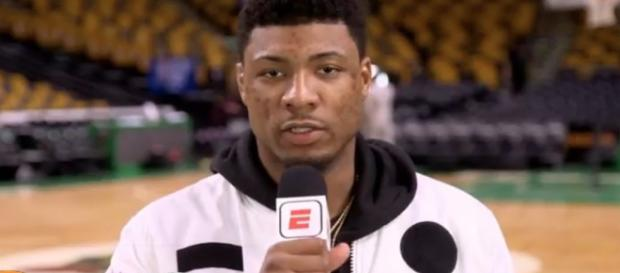 The Boston Celtics' Marcus Smart is being eyed by Dallas as a possible free agent acquisition. [Image via ESPN/YouTube]
