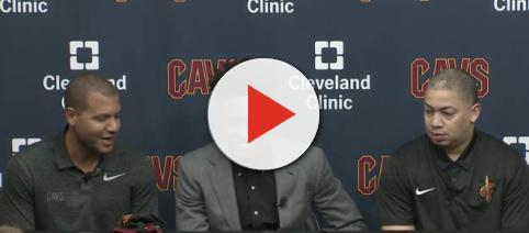 Cavs GM Koby Altman (left) and head coach Tyronn Lue (right) introduced new rookie Collin Sexton (center) on Friday. [Image via Cavs/Livestream]