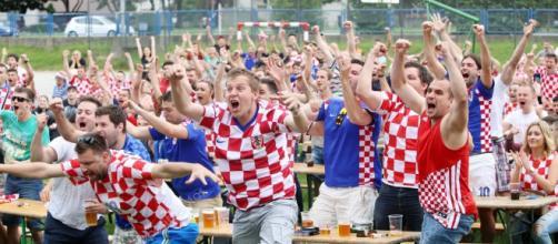 Tifosi della Croazia in festa.