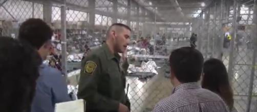 Immigrants live in small cages with barely anything to sleep on in McAllen, Texas. - [Newsweek / YouTube screencap]