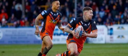 Jamie Ellis' drop-goal sealed a dramatic victory for the Tigers against Wigan on Friday night. Image Source - scorescan.com