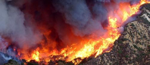 Flames of the Simi Valley Fire ravage a mountain side in Southern California. - [Image courtesy - Dennis W. Goff / Wikimedia Commons]