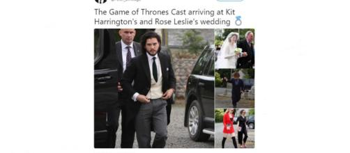 Game of Thrones Kit Harrington and Rose Leslie gat married - Images via Peter Dinklage | Twitter