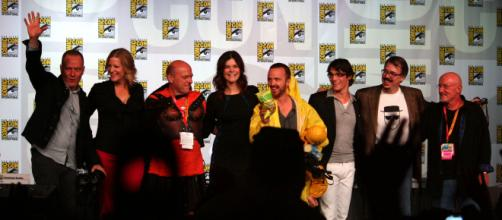 To celebrate the tenth anniversary of AMC's 'Breaking Bad,' the cast of the show was at this year's Comic-Con, last night. [via titi64/Flickr]