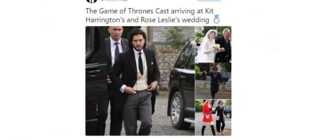 Game of Thrones Kit Harrington and Rose Leslie gat married - Images via Peter Dinklage | Twitter