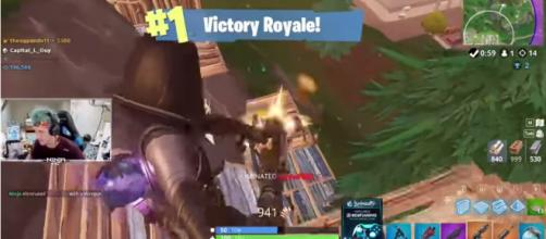 Ninja snagging that Victory Royale using the new Fate skin. - [Ninja / YouTube screencap]