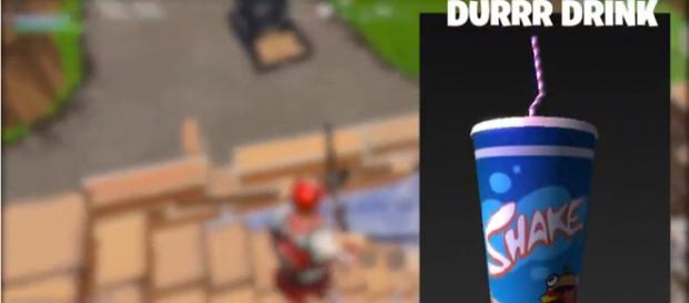 The previously leaked Durrr Drink in 'Fortnite.' - [JADgaming / YouTube screencap]