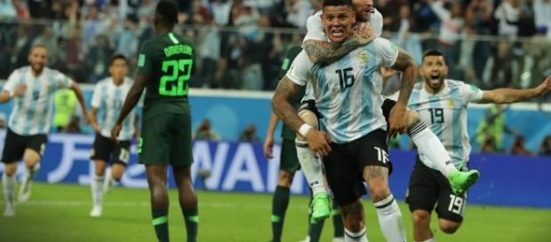 Argentina x Nigéria: Meza marcou o gol argentino.