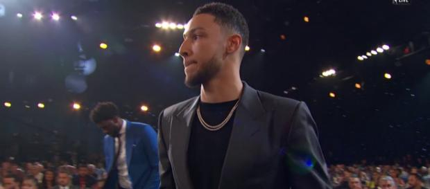 Philadelphia 76ers star Ben Simmons accepts the 2017-18 NBA Rookie of the Year Award on Monday (June 25). - [Image via NBA / YouTube screencap]