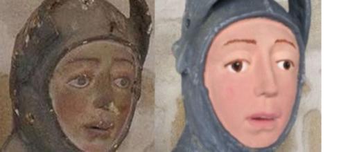 Restauração de escultura de São Jorge deixou obra irreconhecível