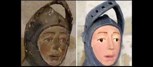 "A priceless relic in a Spanish church has been turned into a Disney character by a well-intentioned ""restorer"" [Image TomoNews US/YouTube]"