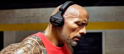 Dwayne Johnson wearing his new headphones. - [Today News / YouTube screencap]