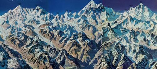 This remarkable cartographic panorama of the Himalaya from the October 1966 / COURTESY NATIONAL GEOGRAPHIC MAPS