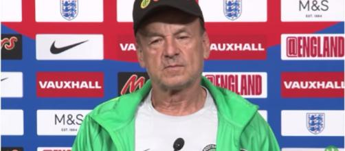 Gernot Rohr addressing a press conference before the Super Eagles friendly against England. [image source: HaytersTV - YouTube]