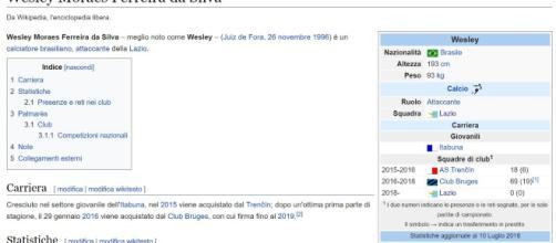 Secondo la pagina di wikipedia Wesley è già un giocatore della Lazio.