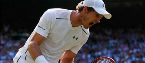 Andy Murray celebrates a point at Wimbledon. Photo: screenshot via Wimbledon channel on YouTube