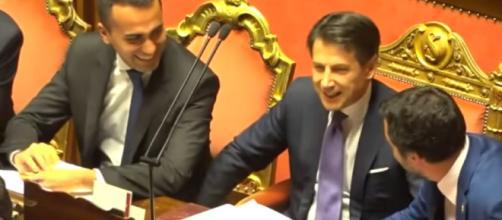 Luigi Di Maio insieme al premier Conte e a Matteo Salvini