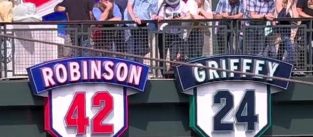 Seattle Mariners' retired numbers. [Image via Ryan DeVault]