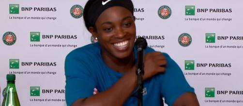 Sloane Stephens speaks during a press conference at the 2018 French Open. Photo: screenshot via Roland Garros channel on YouTube