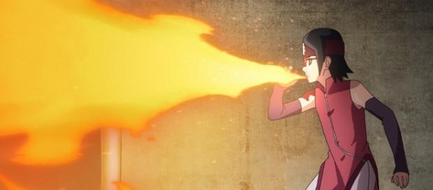 Boruto y Sarada pelean juntos contra Shinki en el episodio 61