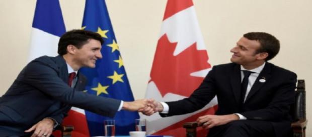 Emmanuel Macron rencontre le Premier ministre canadien avant le G7