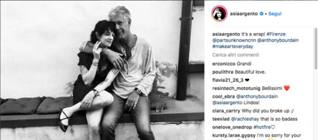 Asia Argento e Anthony Bourdain insieme a Frenze (credits: asiargento Instagram)
