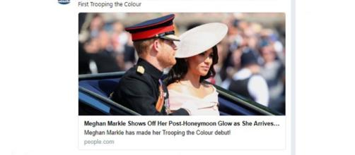 Meghan Markle and Prince Harry arrive at Trooping the Colour- Image credit Tribune World News | Twitter