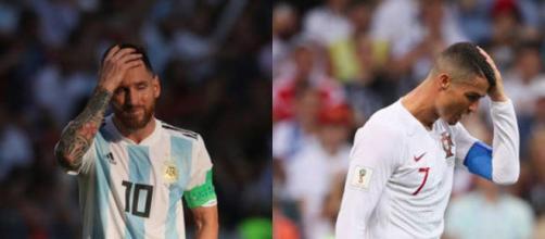Campeões em série por clubes, Messi e Ronaldo lamentam a desclassificacão