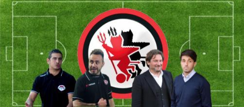 Da sinistra verso destra: Pasquale Padalino, Roberto De Zerbi, Giovanni Stroppa e Gianluca Grassadonia
