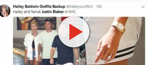 Justin Bieber and Hailey Baldwin arrive back in NYC after bahamas engagement - Image credir @Haileysoutfits2 | Twitter
